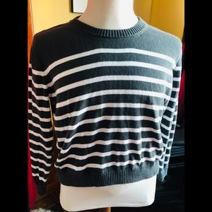 J Crew Soft Cotton Gray White Stripe Sweater